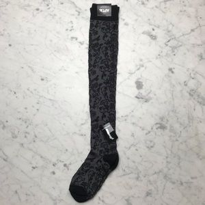 NWT Apt. 9 Grey Over-The-Knee Floral Print Socks